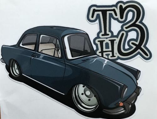 Sticker with notchback and T3HQ-logo