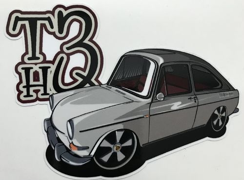 Sticker with fastback and T3HQ-logo