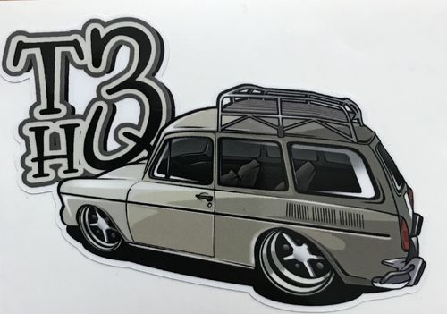 Sticker with squareback and T3HQ-logo